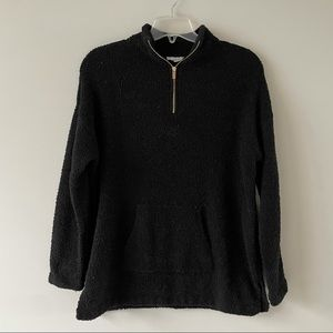 Loft black sherpa half zip sweatshirt